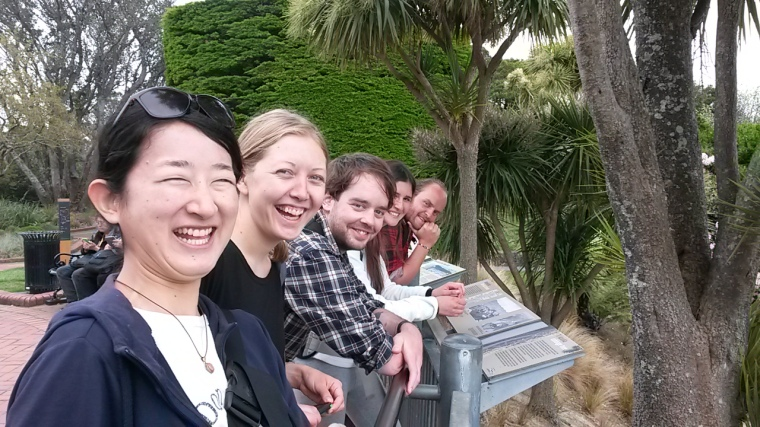 A crew of us exploring the view at Wellington's Botanic Gardens